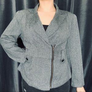 Lane Bryant gray moto style zip up blazer jacket